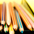 Stock Photo: Pencil color messy in yellow background