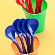 Spoons and cups recyclable, colorful — Stock Photo #13518104