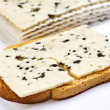 Roquefort slice sheets on toast — Stock Photo