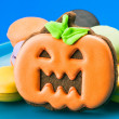 Halloween cookies, chocolate covered orange — Stock Photo