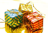 Christmas tree ornaments; shaped gift box — Stock Photo