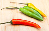 "Bunch of chillies ""green"" spicy, in white base — Stock Photo"