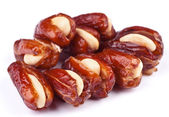Dried dates, white almond stuffed — Stock Photo