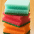 Stock Photo: Colored pads stacked wooden base