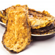 Cut eggplant fried breaded with egg - Lizenzfreies Foto