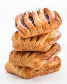 Flaky stuffed pastries group jam — Stockfoto