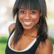 Portrait of beautiful black athlete in sports clothing — Stock Photo #29642121