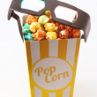 Candy colored popcorn with 3D glasses — Stock Photo