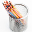 Many pastel crayons, a bucket disordered — Zdjęcie stockowe