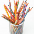 Stock Photo: Many pastel crayons, bucket disordered