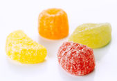 Sugary jellies group of white base — Stock Photo