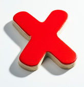 Shaded wooden red X on white base — Stock Photo