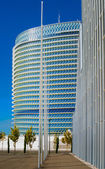 Modern office buildings glisten in the sun in a European city — Stock Photo