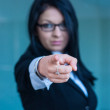 Executive woman making the gesture of dismissal of an employee — Stock Photo