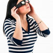 Young girl seen a movie with 3D glasses, making isolated on whit — Stock Photo
