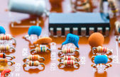Integrated circuit and other components, welded baseplate — Stock Photo