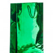 Zdjęcie stockowe: Gift bag varnished bright green paper, isolated on white