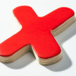 Stock Photo: Shaded wooden red X on white base