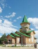 Iglesia ortodoxa de madera en construcción — Foto de Stock