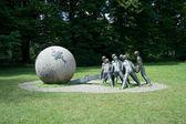 Modern sculpture in Parc de la Tete d'Or, Lyon, France — Stock Photo
