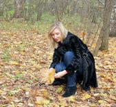 Mujer recogiendo otoño deja en el parque — Foto de Stock