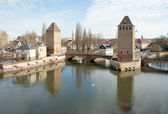 Petite-France, medieval bridge Ponts Couverts and towers, Strasb — Stock Photo