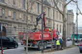 Road works near the Louvre. Paris, France — Foto Stock