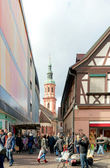 Hauptstrasse. Crossing with Pfarstrasse and view to Holy Cross C — Stock Photo