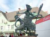 Three witches sculpture in Offenburg, Germany — Stock fotografie