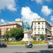 Piazza Corvetto and the monument of Victor Emmanuel II, Genoa, I — Stock Photo