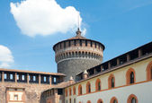 View of Corner tower from yard of Sforza Castle, Milan, Italy — Stock Photo