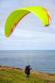 Paragliding blast-off — Stock Photo