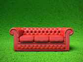 Red leather sofa. — Stock Photo
