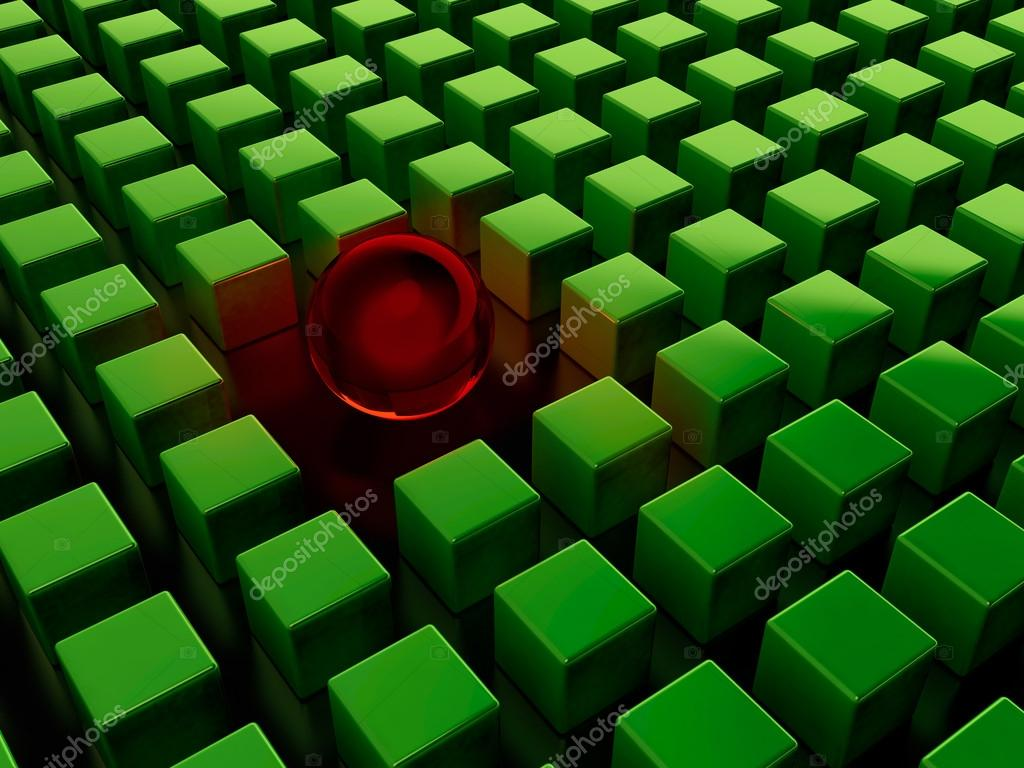 Red glass sphere among green cubes on black background  Stock Photo #12566564