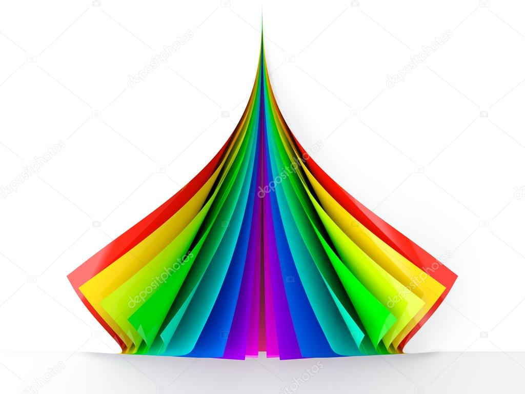 3D render of colored curled paper stack  Stock Photo #12566645