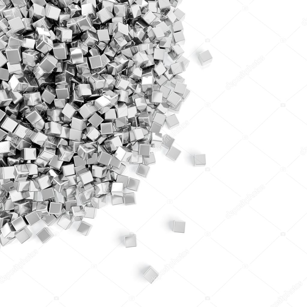 Abstract illustration of silver cubes heap on white background  Stock Photo #12567205