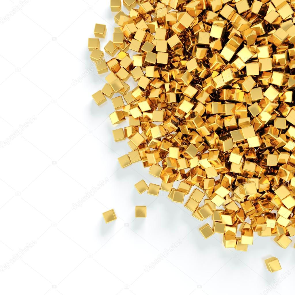 Abstract illustration of golden cubes heap on white background — Stock Photo #12567234