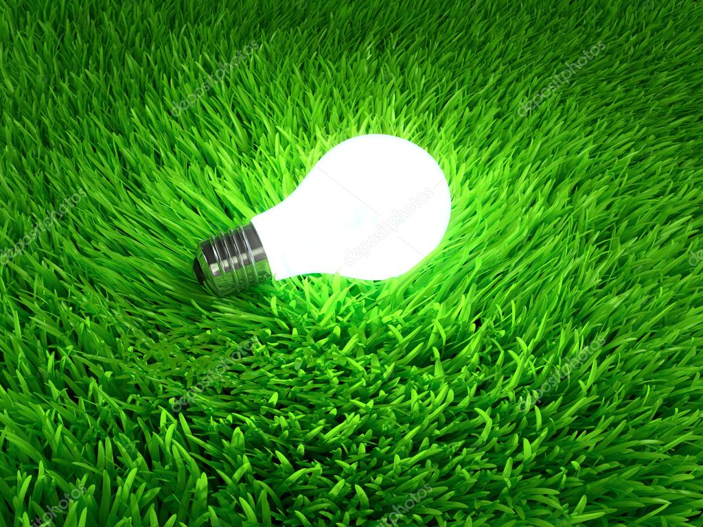 Glowing light bulb hanging above grass symbol of ecological energy — Stock Photo #12569039