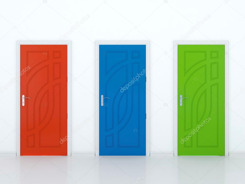 3D illustration of red green and blue doors in white wall — Stock Photo #12569128