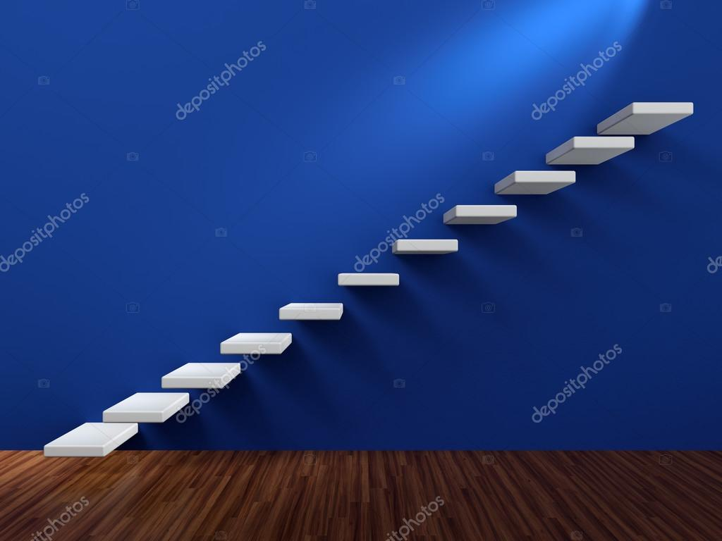 3D render of abstract white staircase in blue wall  Stock Photo #12569649