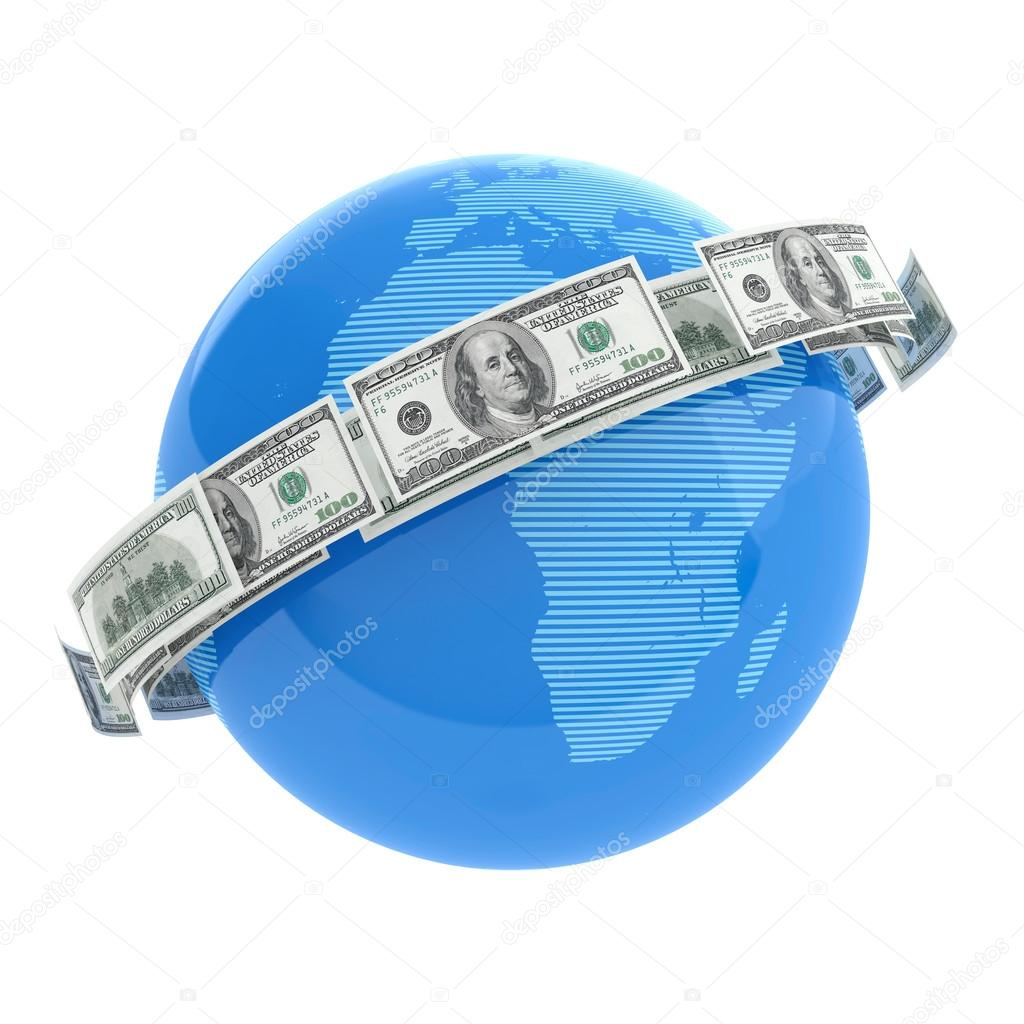 3D render of flying dollar bills around world  Stock Photo #12569681