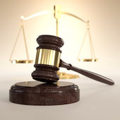 Scales of Justice and gavel — Stock Photo