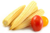 Mini corn and cherry tomatoes — Stock Photo