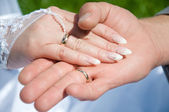 Two hand with wedding ring — Stock Photo