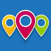 Iconos del mapa gps color — Vector de stock