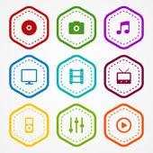 Media badges — Stock Vector