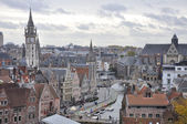 Medieval city of Gent (Ghent) aerial view, Belgium — Foto Stock