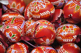 Hand-made traditional red Easter eggs — Stock Photo