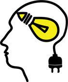 Testa con il simbolo della lampadina e spina — Vettoriale Stock