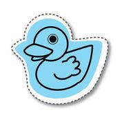 Голубой утки щебетать стикер — Cтоковый вектор